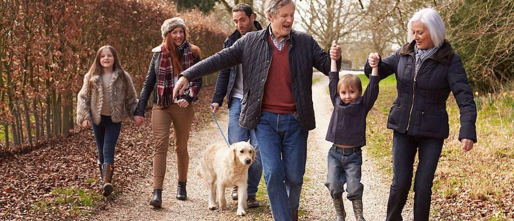 Happy family, grandparents, children and grandchildren and dog